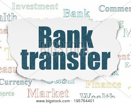 Banking concept: Painted blue text Bank Transfer on Torn Paper background with  Tag Cloud