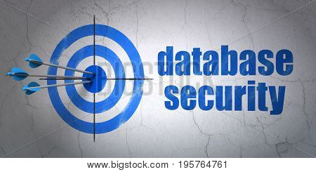 Success safety concept: arrows hitting the center of target, Blue Database Security on wall background, 3D rendering