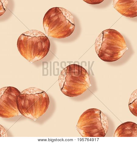 Hazelnut. Watercolor seamless pattern with nuts