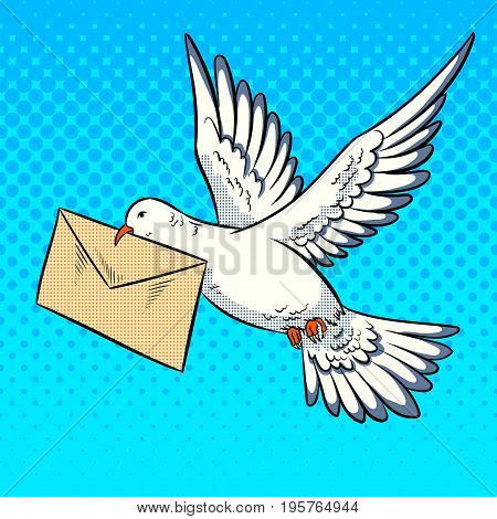 Postal dove bird with letter pop art retro vector illustration. Comic book style imitation.