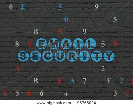 Privacy concept: Painted blue text Email Security on Black Brick wall background with Hexadecimal Code