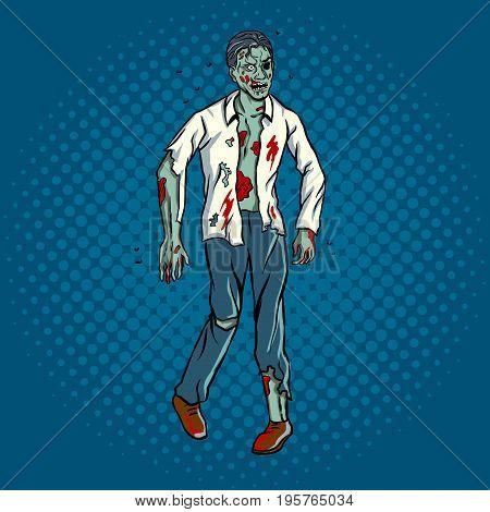 Walking zombie pop art retro vector illustration. Comic book style imitation.