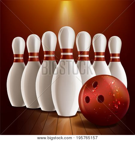 Pins and bowling ball realistic style vector illustration.