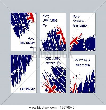 Cook Islands Patriotic Cards For National Day. Expressive Brush Stroke In National Flag Colors On Wh