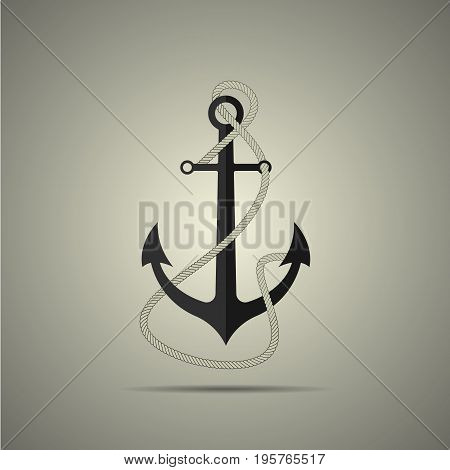 Anchor with rope icon flat style black and white colors concept