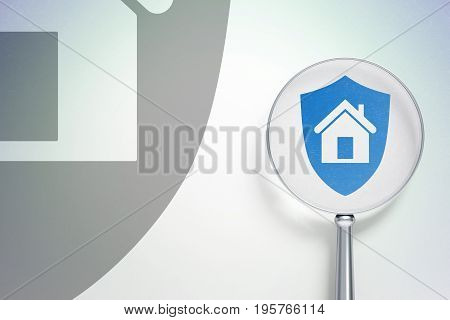 Finance concept: magnifying optical glass with Shield icon on digital background, empty copyspace for card, text, advertising, 3D rendering