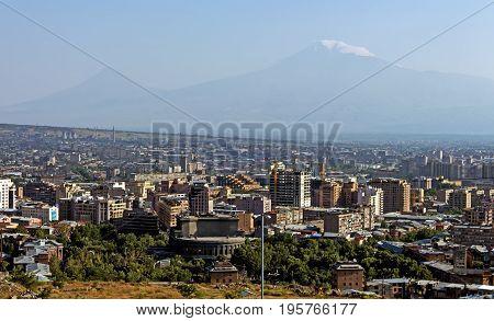Legendary mount Ararat and Yerevan city,Transcaucasia, Armenia.