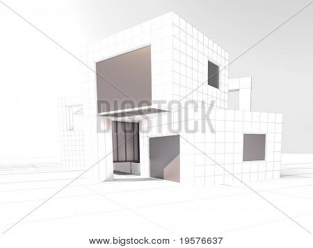 3D rendering of a white modern building for architecture project