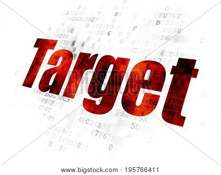 Finance concept: Pixelated red text Target on Digital background