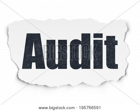 Finance concept: Painted black text Audit on Torn Paper background with  Tag Cloud