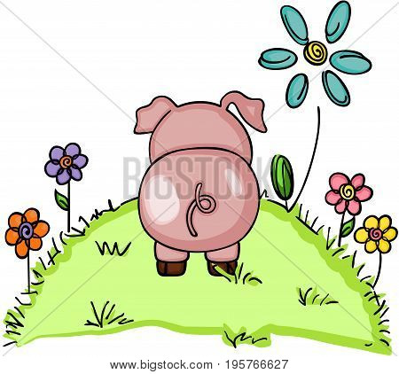 Scalable vectorial image representing a cute pig in green grass with flowers, isolated on white.