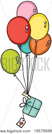 Scalable vectorial image representing a gift flying with balloons, isolated on white.