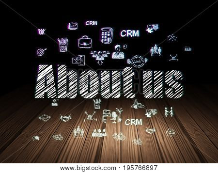 Finance concept: Glowing text About us,  Hand Drawn Business Icons in grunge dark room with Wooden Floor, black background