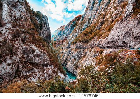 Mountain landscape. Tara River Canyon is part of rafting route, Durmitor National Park, Montenegro.