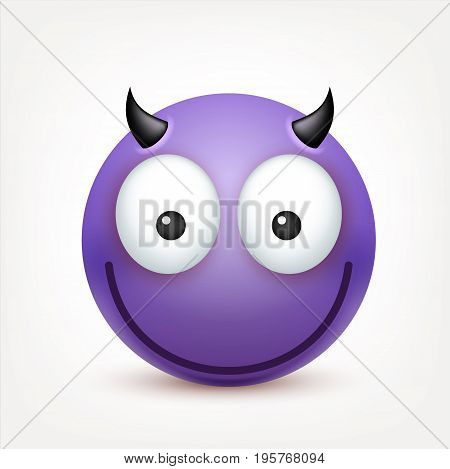 Smiley, emoticon. Violet face with emotions. Facial expression. 3d realistic emoji. Sad, happy, angry faces.Funny cartoon character.Mood. Web icon. Vector illustration.