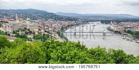 Buda castle hill and Chain bridge over river Danube in Budapest Hungary