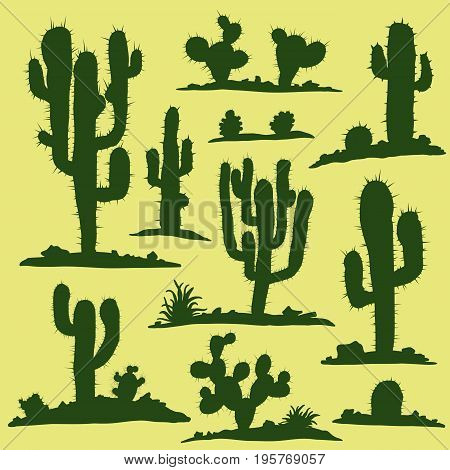 Set of different types of green cacti plants. Vector illustration.