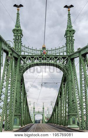 Empty Liberty Bridge In Budapest, Hungary