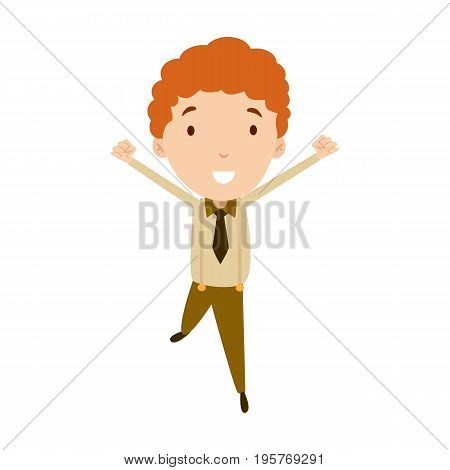 Flat style modern business Employees with red hair in brown casual clothes. Vector icon set. Smile Men lifestyle icon.