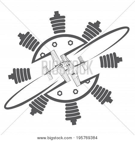 An illustration consisting of a symbolic image of two aircraft and an engine