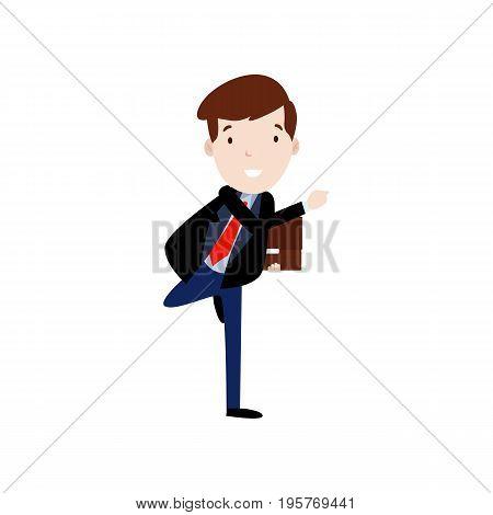 Flat style modern business Employees in dark blue blazer clothes. Vector icon set. Smile Men lifestyle icon.