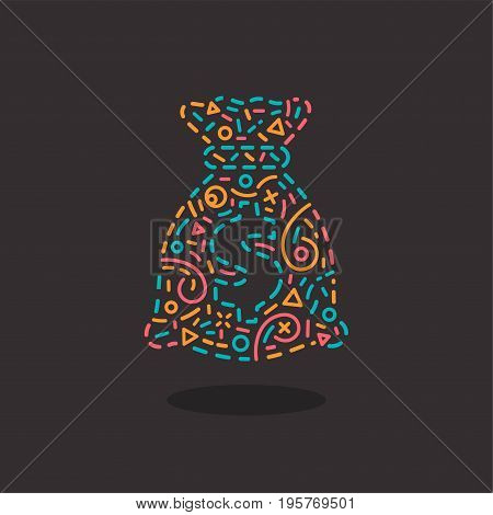 Abstract business logo icon design template with money bag