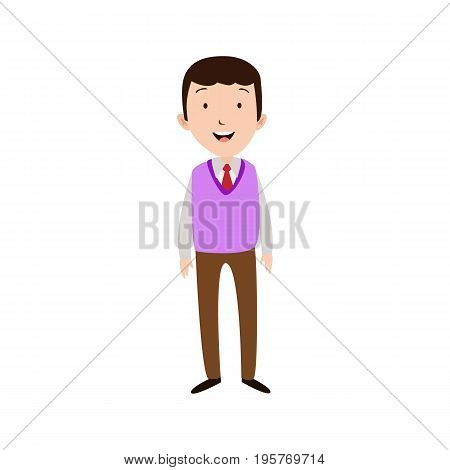 Flat style modern business Employees in purpple blazer clothes. Vector icon set. Smile Men lifestyle icon.