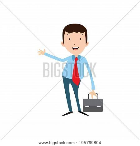 Flat style modern business Employees in casual blue clothes. Vector icon set. Smile Men lifestyle icon.