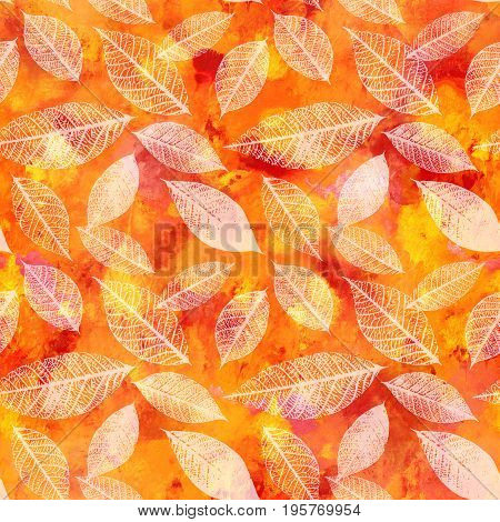 A seamless autumn background pattern with vibrant red, yellow, and orange painterly brush strokes and white leaves silhouettes. An abstract artistic fall themed repeat print