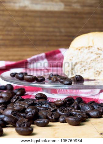 Vintage Coffee and bread wooden background .