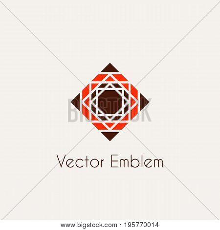 Mosaic arabic ornament. Vector rhombus emblem for luxury logos and retro ornamental design.