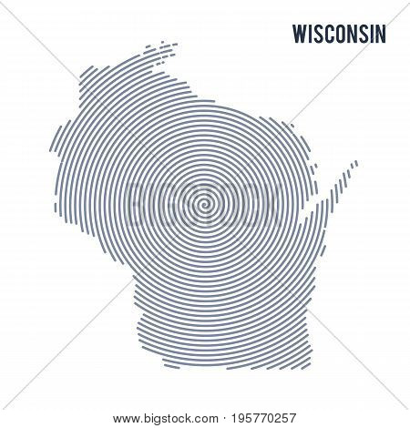 Vector Abstract Hatched Map Of State Of Wisconsin With Spiral Lines Isolated On A White Background.