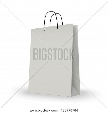 White shopping bag on white. vector illustration. esp10