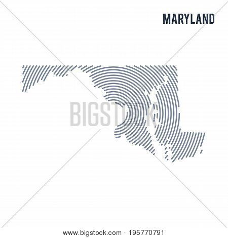 Vector Abstract Hatched Map Of State Of Maryland With Spiral Lines Isolated On A White Background.
