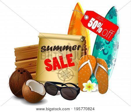 Summer sale banner online shopping on isolated on white background. Vector illustration