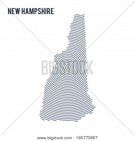 Vector Abstract Hatched Map Of State Of New Hampshire With Spiral Lines Isolated On A White Backgrou