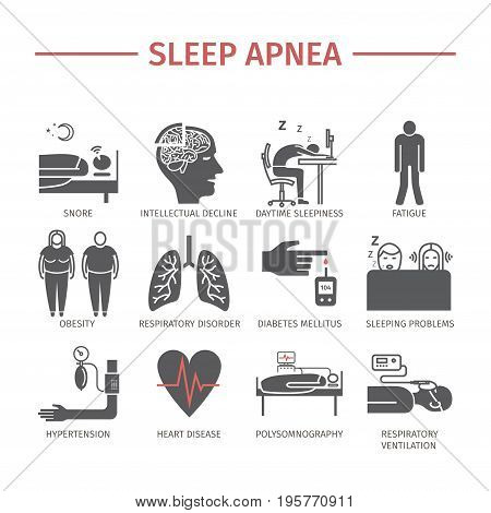 Sleep Apnea. Symptoms Treatment Vector icon for web graphic
