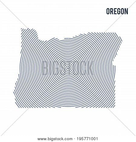 Vector Abstract Hatched Map Of State Of Oregon With Spiral Lines Isolated On A White Background.