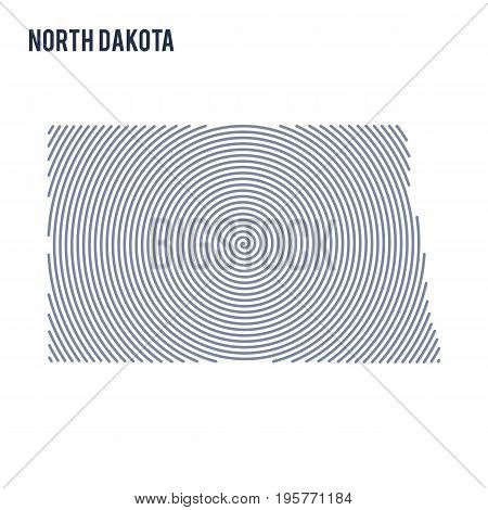 Vector Abstract Hatched Map Of State Of North Dakota With Spiral Lines Isolated On A White Backgroun