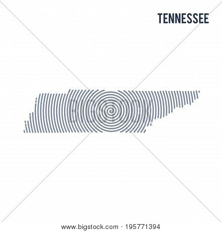 Vector Abstract Hatched Map Of State Of Tennessee With Spiral Lines Isolated On A White Background.