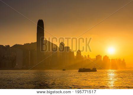 Hong Kong island on sunset scene, Golden hours