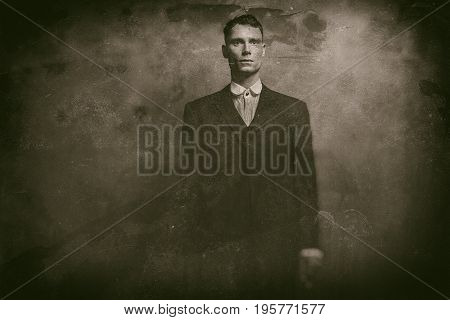 Antique Wet Plate Photo Of 1920S English Gangster In Suit Standing With Cigarette.