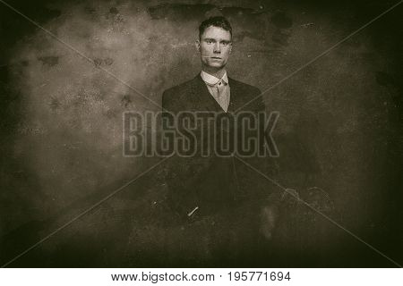 Antique Wet Plate Photo Of 1920S English Gangster Standing With Cigarette.