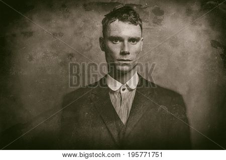 Antique Wet Plate Photo Portrait Of 1920S English Gangster In Suit.