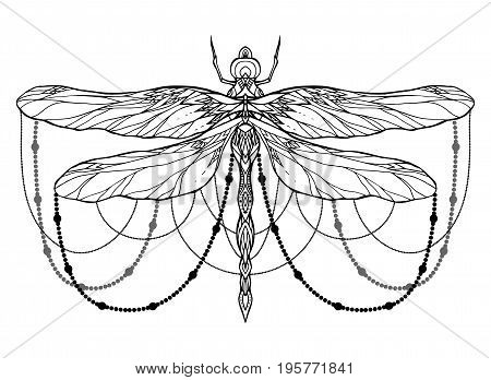 Black and white dragonfly illustration with boho pattern and beads. Vector element for sketching tattoos printing on T-shirts postcards and your creativity