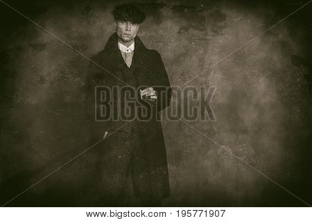 Antique Wet Plate Photo Of Macho 1920S English Gangster Wearing Black Coat And Flat Cap Holding Ciga