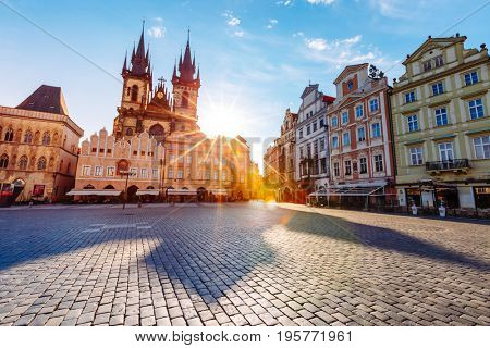 Fantastic scene of the Tyn Church (Tynsky chram) in sunlight. Popular tourist attraction. Location famous place (unesco heritage) old town square on Prague, Czech Republic, Europe. Beauty world.