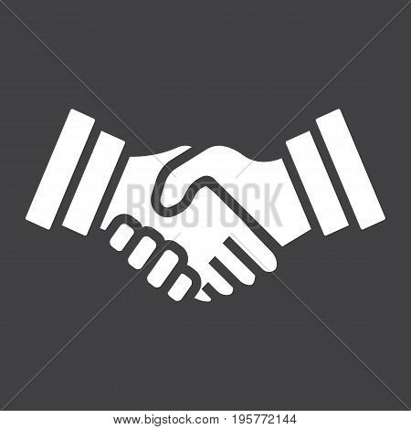 Business handshake solid icon, contract and agreement, vector graphics, a filled pattern on a black background, eps 10.