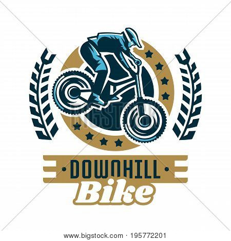 Logo mountain bike. A cyclist coming down the mountain. Extreme sport. Danger, downhill. Vector illustration. Flat style.