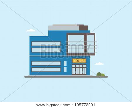Modern low-rise police station building front view. Colorful flat vector illustration